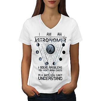 Astronomer Problems Women WhiteV-Neck T-shirt | Wellcoda