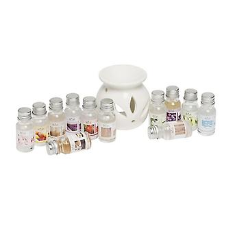 White Ceramic Oil Burner Diffuser With 12 Asst 10ml Fragrance Oils Gift Set