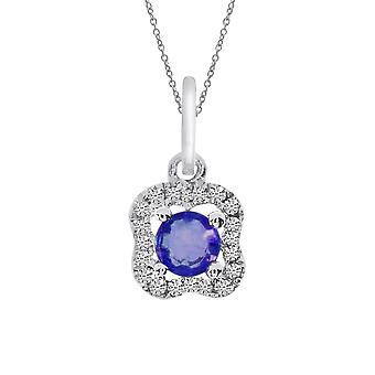 LXR 14k vit guld safir och diamant hänge 0.15 ct