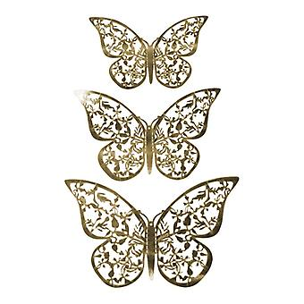 12pcs 3D butterflies in metal, wall decoration-gold leaf