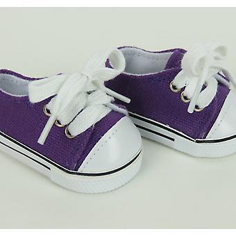 "18"" muñeca ropa zapatillas superior baja, púrpura"
