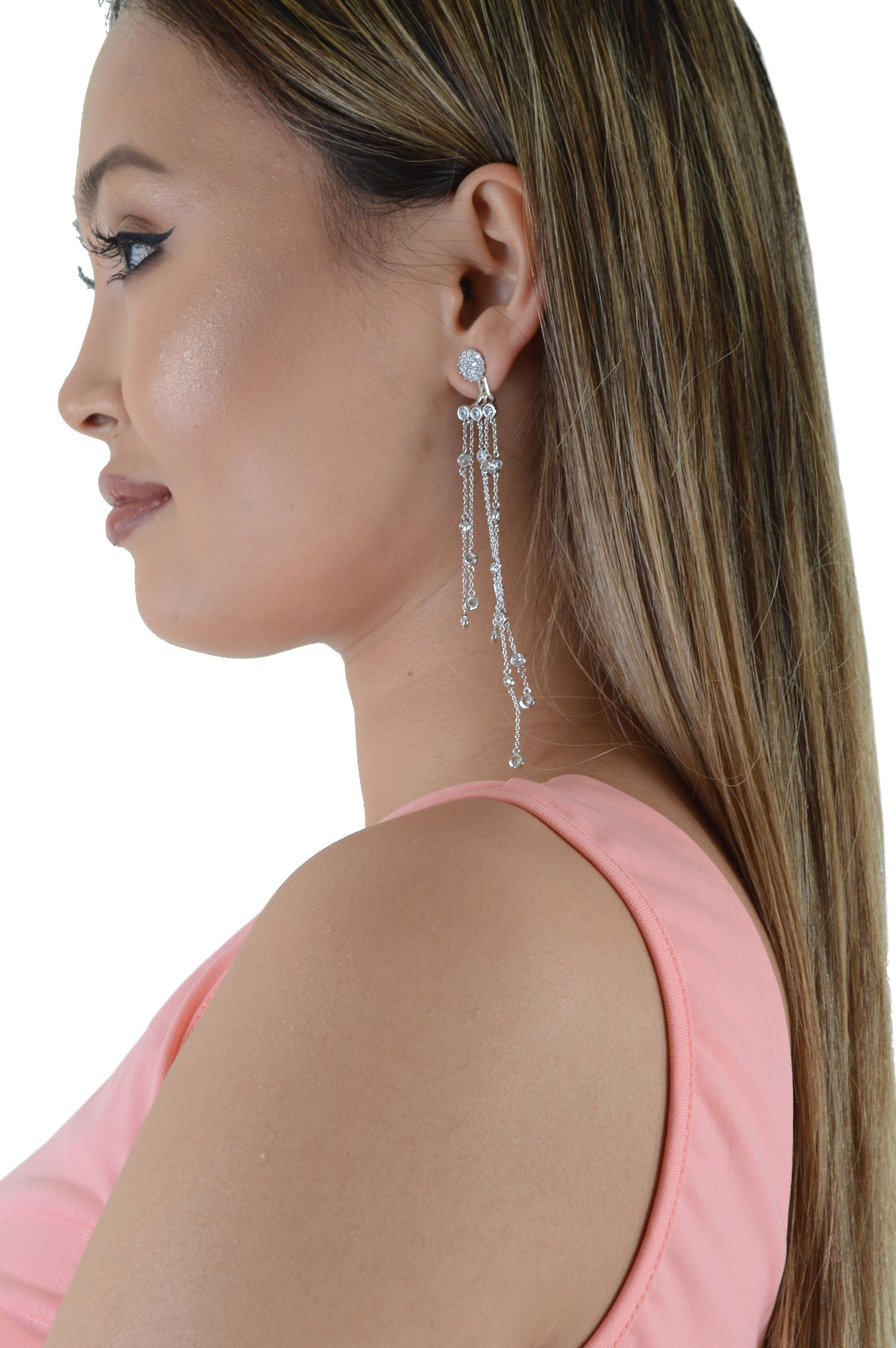 Lovemystyle Silver Long Chandelier Earrings With Diamantes