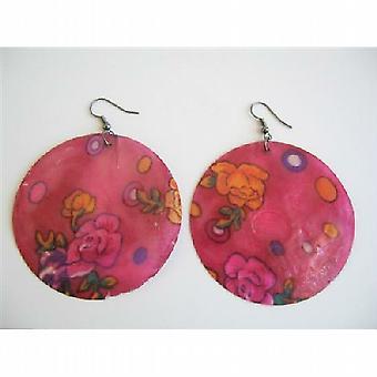 暗赤色ピンク シェル ラウンド シェル塗装イヤリングを塗装の花ピアス