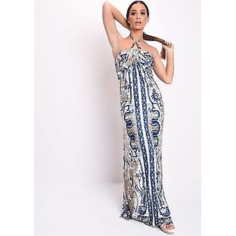Printed Halterneck Maxi Dress Blue