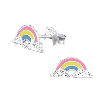 Örhänge med silver regnbåge