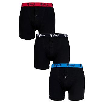 Pringle William Boxer Trunks 3 Pack Black With Contrast Waist Band