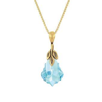 Eterna collezione Barocco cristallo Aquamarine 14ct oro Vermeil Ciondolo collana