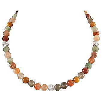 Eternal Collection Debutante Rutilated Quartz Semi Precious Beaded Silver Tone Necklace