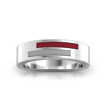 Troy University Sterling Silber asymmetrische Emaille Ring In rot und grau