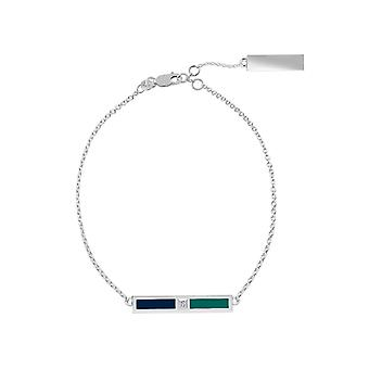 Seattle Mariners Sterling Silver Diamond Chain Chain Bracelet In Blue and Blue Green