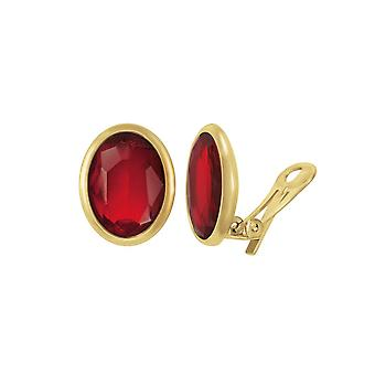 Eternal Collection Precious Light Siam Red Crystal Oval Gold Tone Stud Clip On Earrings
