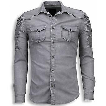 Biker Denim Shirt-Slim Fit Ribbel Schoulder-Grey