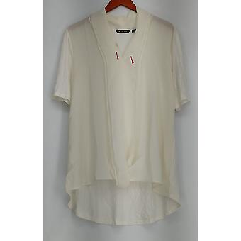 H by Halston Short Sleeve Knit Top w/ Chiffon Front Ivory A278663