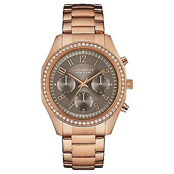 Caravelle New York Womens Rose Gold Crystal Chronograph 44L195 Watch