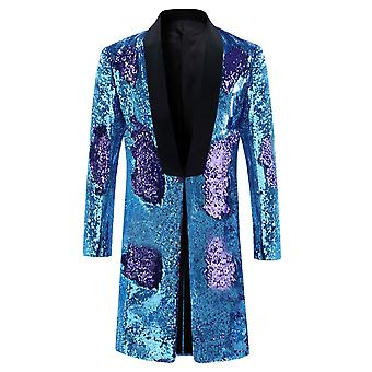 Allthemen Men's Tuxedos Long Blazer Sequins Shining Performance Party Suit
