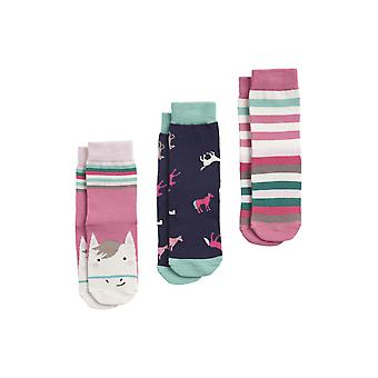 Joules Brilliant Bamboo Girls 3 Chaussettes Pck - Multi Horse