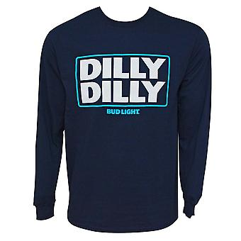 Bud Light Dilly Dilly Long Sleeve Navy Blue Tee Shirt