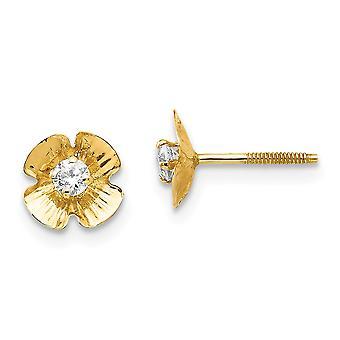 14k geelgoud gepolijste schroef terug bloem 2,5 mm CZ kubieke Zirconia gesimuleerde diamond post oorbellen meet 7x7mm breed J