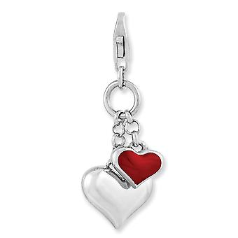 925 Sterling Silver Rhodium plated Fancy Lobster Closure Rhodium Plated Enameled Double Love Heart With Lobster Clasp Ch
