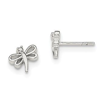 925 Sterling Silver Polished Dragonfly Post Earrings - 1.3 Grams