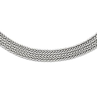 925 Sterling Silver Box Catch Closure Polished Mesh Braided Necklace 18 Inch Jewelry Gifts for Women