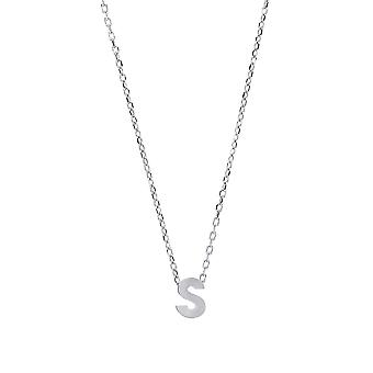 Jewelco London Ladies Rhodium Plated Sterling Silver Letter S Initial Pendant Necklace