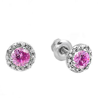 Dazzlingrock Collection 10K Round Pink Sapphire & White Diamond Halo Stud Earrings, White Gold