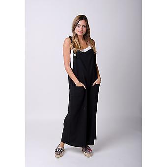 Saffy dames légères en lin ample dungarees noir