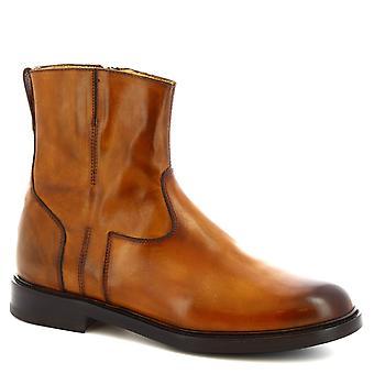 Leonardo skor kvinnor ' s handgjorda fotled stövlar delavé Sienna läder sida zip