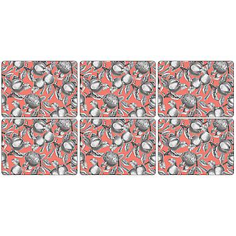 Pimpernel Pomona Coral Placemats, Set of 6