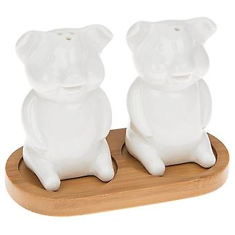 White Bamboo Salt and Pepper Cruet Set - Siedząca Piggy