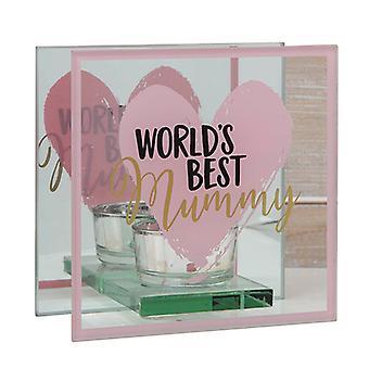 Journée des Mères World-apos;s Best Glass Tealight Holder