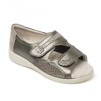 Padders Graceful Ladies Leather Extra Wide (3e/4e) Sandals Metallic
