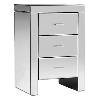 Charles Bentley Mirrored Glass Furniture Bedside Table Cabinet With 3 Drawers