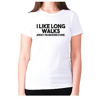 Womens lustige T-shirt Slogan t-Shirt Damen Neuheit Humor - Ich mag lange Spaziergänge weg von allen