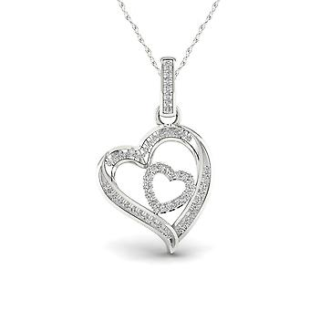 Igi certified 925 sterling silver 0.15ct tdw natural diamond heart necklace