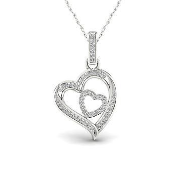 Igi gecertificeerd 925 sterling zilver 0.15ct tdw natuurlijke diamant hart ketting