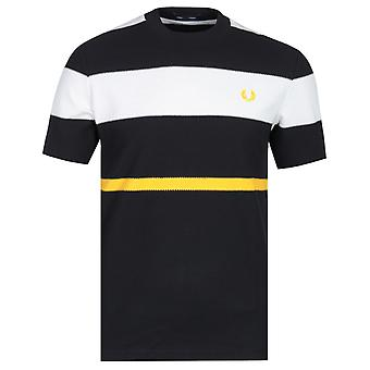 Fred Perry Bold Striped Black, White & Yellow T-Shirt