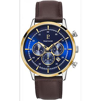 Assista Pierre Lannier 224G264 - Capital Chronograph Bo tier aço polido de aço r top blue bezel dor mor dedial blue bracelet brown dateur Homme