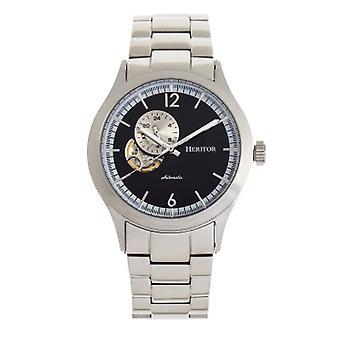 Heritor Automatic Antoine Semi-Skeleton Bracelet Watch - Silver/Black