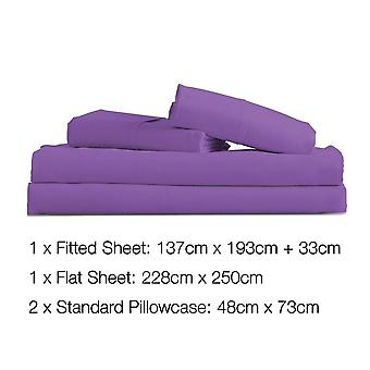 4 Piece Microfibre Sheet Set Purple