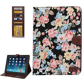 For iPad 2/3/4 Wallet Case,Modern Peony Leather Durable Shielding Cover,Black