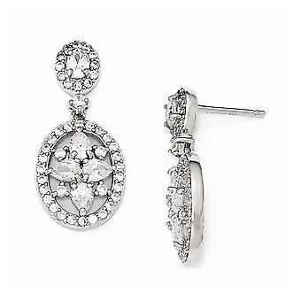 13mm Cheryl M 925 Sterling Silver CZ Cubic Zirconia Simulerad Diamond Fancy Post Long Drop Dingla Örhängen Smycken Gåvor