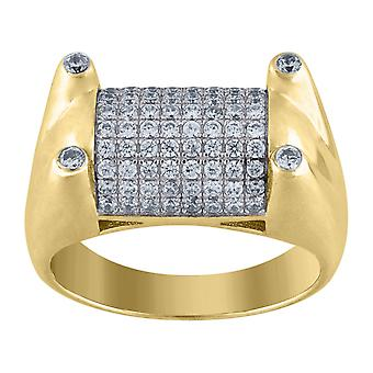 925 Sterling Silver Mens Two tone CZ Cubic Zirconia Simulated Diamond Cluster Band Ring Jewelry Gifts for Men - Ring Siz