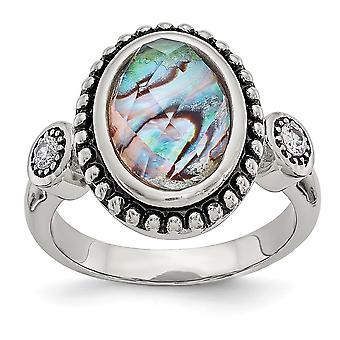 Acero inoxidable pulido y simulado abulón y zirconia cúbica anillo de joyería regalos para las mujeres - tamaño del anillo: 6 a 9