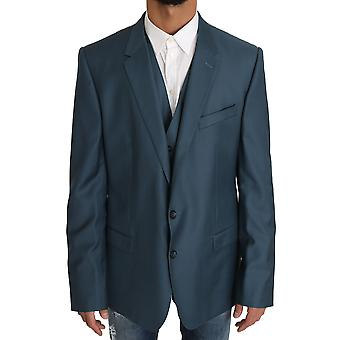 Dolce & Gabbana Blazer Vest 2 Piece Blue Martini Wool