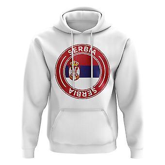 Servië Football Badge Hoodie (Wit)