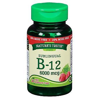 Nature's waarheid vitamine b-12, 6000 mcg, tabletten, natuurlijke bes, 36 ea