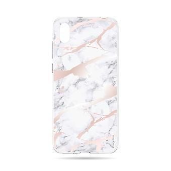 Runko Huawei Y5 2019 Pehmeä vaaleanpunainen marmoriefekti