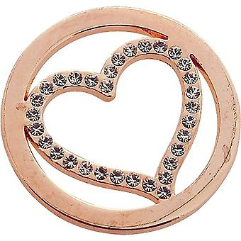 TOC Rose Goldtone Rhinestone Heart Coin for Interchangeable Locket Pendant